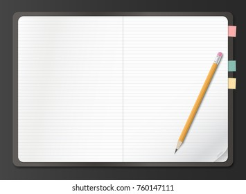 Realistic notebook, earmark lined white paper sheet with pencil on black background. Vector illustration