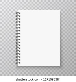 Realistic Notebook mockup. Copybook with metallic silver spiral. Blank mock up with shadow. Vector illustration.