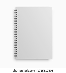 Realistic notebook mockup with white paper isolated on white background. Vector illustration.