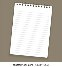 Realistic notebook or notepad with binder isolated on grey background. Memo note pad or diary paper page templates. Vector illustration