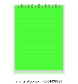 Realistic notebook or notepad with binder isolated. Memo note pad or diary with lined and squared paper page templates. Vector illustration