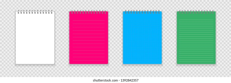 Realistic notebook pack or notepad with binder isolated. Memo note pad or diary with lined and squared paper page templates. Vector illustration