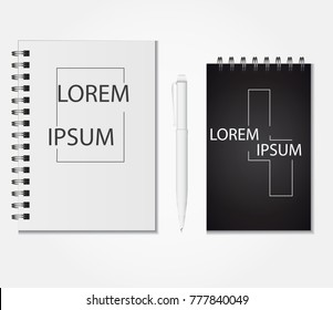 Realistic notebook vector set, Notepad black,white and Pen Set Of Corporate Identity And Branding Stationery Templates. Illustration Isolated On White Background.Mock Up Template Ready For Your Design