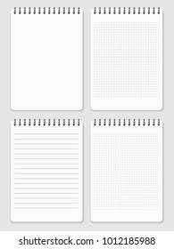 Realistic notebooks page collection - lined and dots notebook. Paper page notebook for note illustration vector