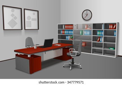 Realistic office interior with 3d work desk bookshelf and picture frames on wall vector illustration