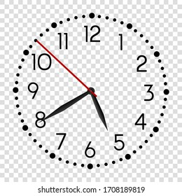 Realistic office wall clock. Black round watch face. Vector alarm modern vector timer