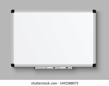 Realistic office Whiteboard. Empty whiteboard with marker pens - stock vector.