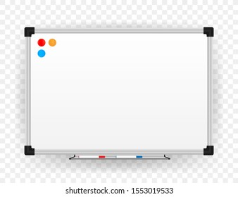 Realistic office Whiteboard. Empty whiteboard with marker pens. Vector stock illustration.