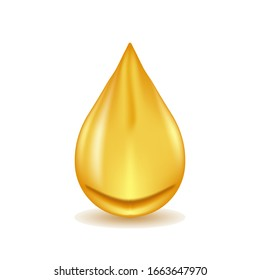 Realistic oil drop isolated on white background. Vector illustration.