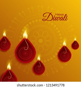 Realistic oil lamp (Diya)  on traditional background for Happy Diwali celebration.