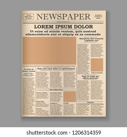 realistic old newspaper front page template. vector illustration