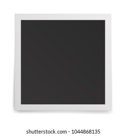 Realistic old photo frame isolated on white background. Vector illustration.