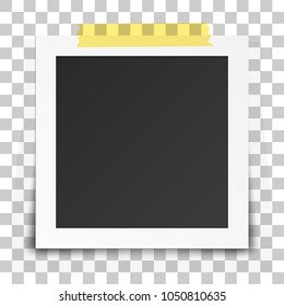 Realistic old photo frame isolated on transparent background. Vector illustration.
