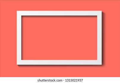 Realistic old photo frame isolated on trendy living coral color background. Vector illustration.