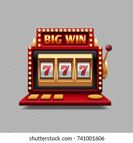 Realistic one arm bandit vector - jackpot slot casino. Illustration of machine slot gambling isolated