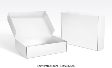 Realistic Open And Closed Blank Big Packaging Boxes. EPS10 Vector