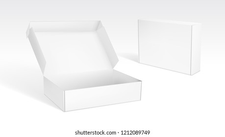Realistic Open And Closed Blank Packaging Boxes. EPS10 Vector