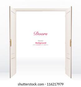 Realistic open door on white background. Vector design.