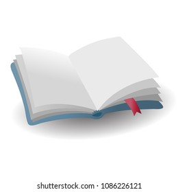 realistic open empty blue book icon with red bookmark with shadow, vector illustration