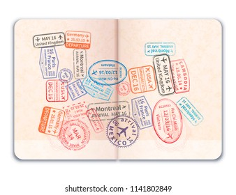 Realistic open foreign passport with many bright colorful immigration stamps in train shape isolated on white