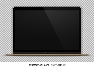Realistic Open Laptop with Blank Screen Isolated on Transparent Background. Gold Notebook 12 inch. Can Use for Project, Presentation. Device Mock Up. Separate Groups and Layers. Easily Editable Vector