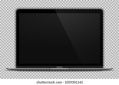 Realistic Open Laptop with Blank Screen Isolated on Transparent Background. Space Grey Notebook 12 inch. Can Use for Presentation. Device Mock Up. Separate Groups and Layers. Easily Editable Vector