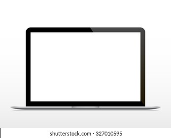 Realistic open laptop with blank screen isolated on white background. Vector illustration.