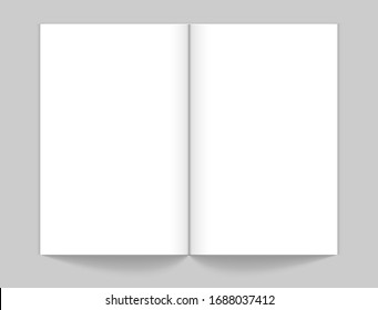 Realistic open magazine mockup. White empty book. Sketchbook, notebook or planner with blank pages vector illustration