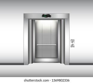 Realistic open metal elevator mockup. Vector illustration
