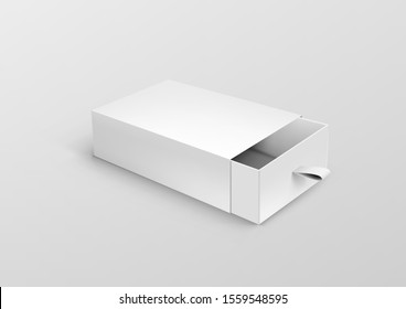 Realistic Open Package Cardboard Ribbon Pull And Slide Drawer Box. EPS10 Vector