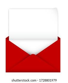 enveloppe rouge ouverte réaliste avec une feuille de papier à l'intérieur. Modèle de félicitations détaillé. Articles postaux. Vecteur isolé sur fond blanc