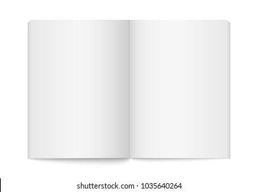 Realistic opened blank book. Vertical brochure page, notebook, magazine, booklet, cover. Mock up template for your design. Blank paper for graphic, creative, business, education. Vector illustration