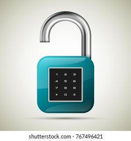 realistic opened padlock. Steel Mechanical Combination lock. Privacy padlock illustration. Enter the PIN code. Electronic lock icon. Reliable Protection open padlock badge. Code combination symbol