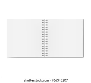 Realistic opened square notebook on spiral binder mockup, sketchbook blank sheets. Clear notepad centre two pages or clean page spread with shadow template