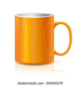 Realistic Orange Coffee or Tea Cup Isolated on White Background.  Design Template for Mock Up. Vector illustration