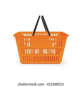 Realistic orange isolated vector shopping basket