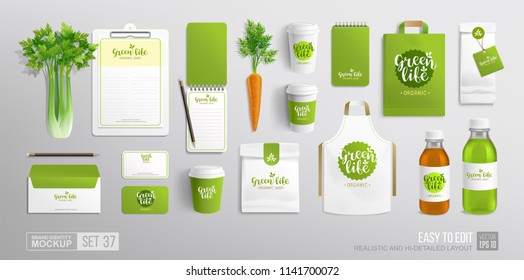 Realistic Organic Food Brand identity Mock-Up set with Vegetal logo for Vegan Cafe, restaurant and natural food shop. Vector stationery branding mockup organic vegetables, juice bottle, products