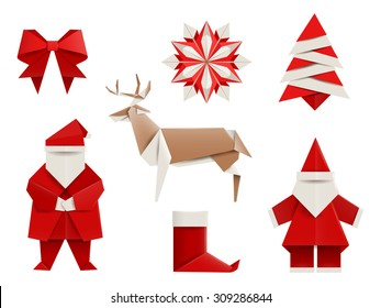 Realistic origami, Christmas set: Santa, deer, christmas tree, snowflake and so. Vector illustration, eps10, isolated on white.