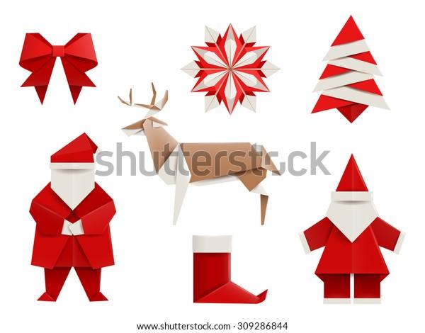 Realistic origami, Christmas set: Santa, deer, christmas tree, snowflake and so. Vector illustration, eps10, isolated on white.