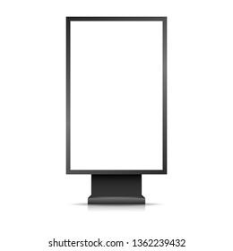 realistic outdoor advertising banner. street light box display mockup