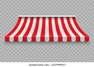 Realistic outdoor awning for cafe and shop vector mockup