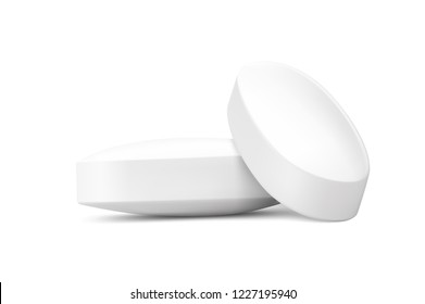 Realistic oval pills isolated on white background. Can be used for medical and cosmetic. EPS10.