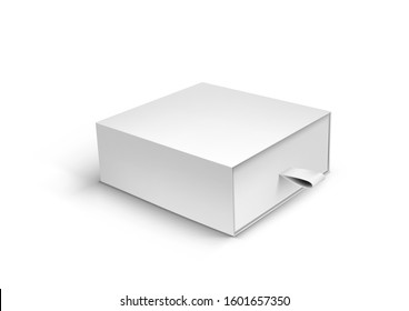 Realistic Package Cardboard Ribbon Pull And Slide Drawer Box. EPS10 Vector