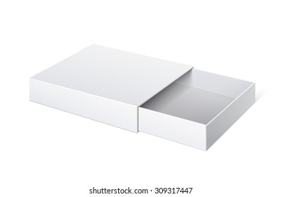 Realistic Package Cardboard Sliding Box Opened.  For small items, matches, and other things. Vector Illustration