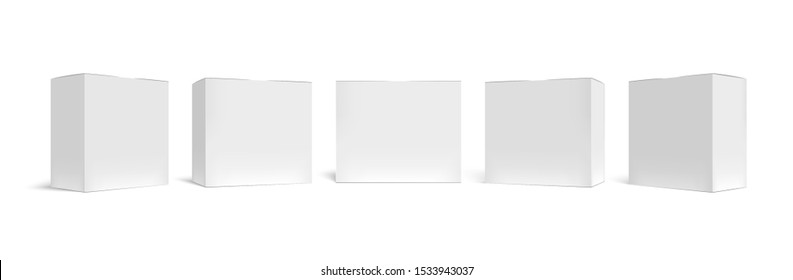 Realistic packaging box. White cardboard boxes mockup, medical case and horizontal rectangular pack 3D vector template set. Closed square packing. Blank paper containers isolated on white backdrop