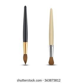realistic paintbrush set isolated on a white background. Vector illustration.
