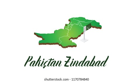 Realistic Pakistan 3D Map and a 3d Pakistani Flag on white Background isoloated with Green multi type of typography style vector Design.