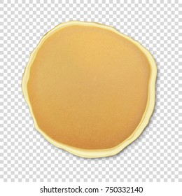 Realistic pancake closeuo isolated on transparency grid background, top view for breakfast, food menu. Vector EPS10 illustration