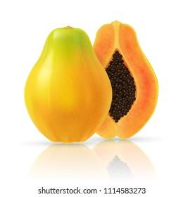 Realistic papaya. Full editable, isolated on white. Fresh, ripe, yellow papaya, sliced pieces.