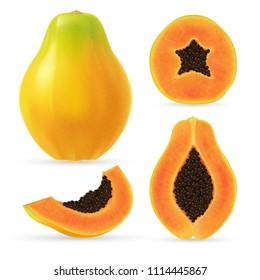 Realistic papaya set. Full editable, isolated on white. Fresh, ripe, yellow papaya, sliced pieces.